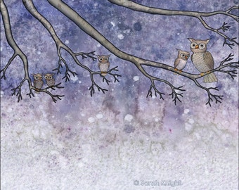 snow hootenanny, digital illustration art print 8X10 inch, owls snowflakes tree branches periwinkle gray white winter brown owl Sarah Knight