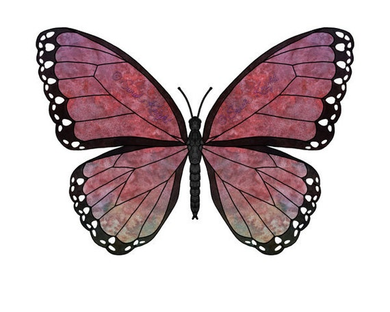 rose madder majestic, fantasy butterfly art digital illustration print 8X10 inches, pink red purple green coloration