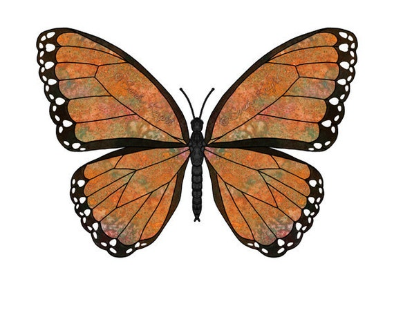 tawny majestic, fantasy butterfly art print by Sarah Knight 8X10 inches, orange black color