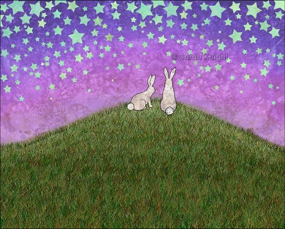 2 bunnies on a hill, signed digital illustration art print 8X10 inches, purple green periwinkle stars whimsical childrens decor bunny rabbit