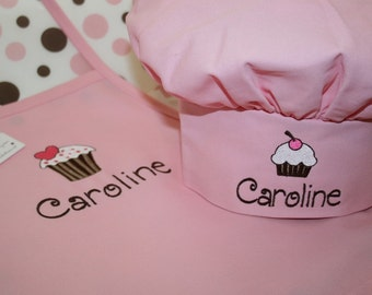 Vanilla Cupcake--Custom Embroidered Youth Apron and Chef Hat--2 apron sizes available