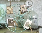 AQUA Photo Frame Rusty Metal Industrial Wheel CHIPPY & FRESH weathered clothespin hangers sea beach cottage teal home decor