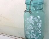 Blue Mason Jar // Shabby Beach Cottage Vase // Vintage Mason Jar //  Urban Farmhouse storage