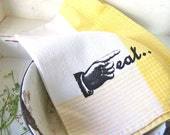 Shabby Chic Kitchen Towel, Cottage Eat Graphic,Retro Yellow, Farmhouse Home Decor