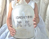 Shabby Chic Vase, Modern Farmhouse Decor, Glass Vase, Beach Cottage, Home Decor, Numbers, Recycled Glass Bottle