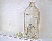 Vintage Bicycle, Shabby Cottage Chic, Glass Vase, Modern Farmhouse, Recycled Glass Bottle