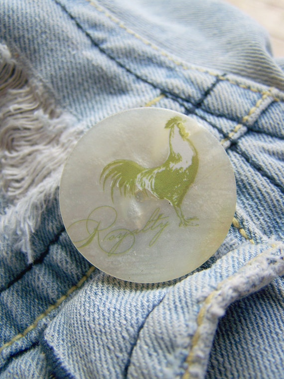 Roster Pin, Brooch, Vintage Mother of Pearl Button PIN Green