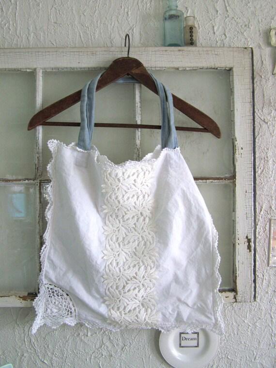 SALE Boho White Shoulder Bag Purse Cotton Tote Vintage Fabric Hand Crocheted Edges