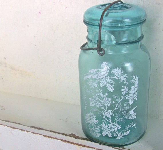 Blue Mason Jar // Shabby Beach Cottage Vase // Vintage Mason Jar //  Urban Farmhouse storage