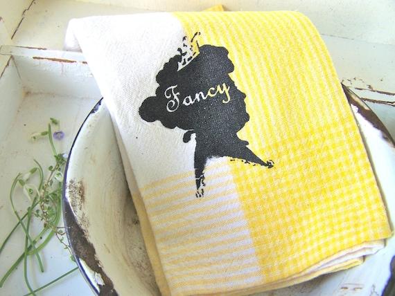 Kitchen Towel Shabby Cottage YELLOW Silhouette Modern Farmhouse Hand Towel Kitchen Decor