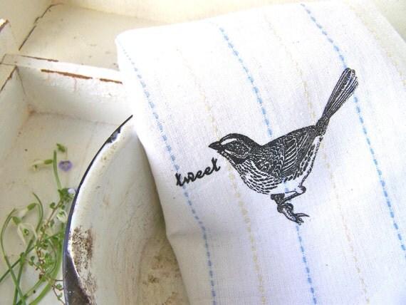 Modern Farmhouse Kitchen Towel, Bird, White Cotton Hand Printed Shabby Chic Home Decor