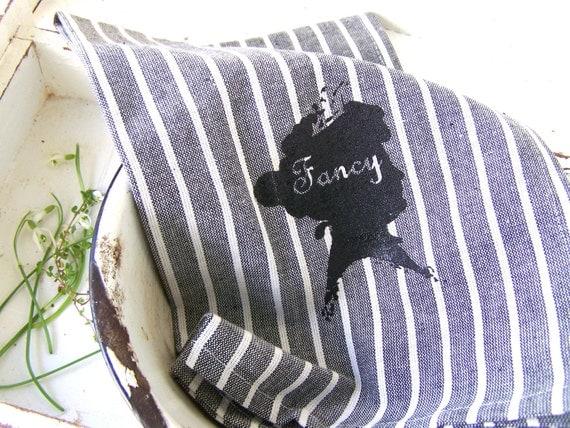 Tea Towel // Vintage Kitchen Hand Towel // Urban FARMHOUSE // Hand Printed // Vintage Silhouette Design