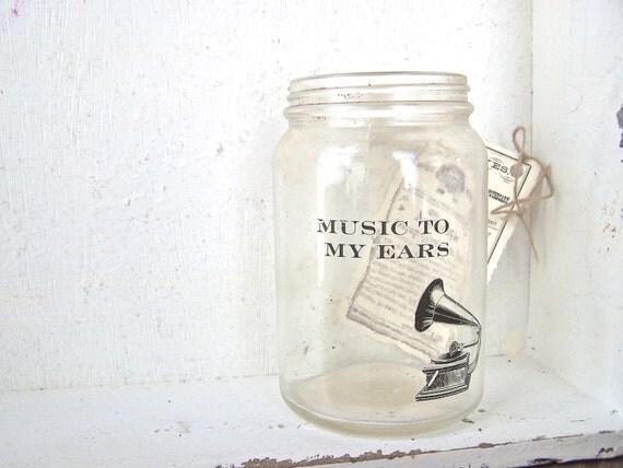 Vintage Shabby Cottage Vase Music Quote Phonograph Soft Farmhouse Home Decor