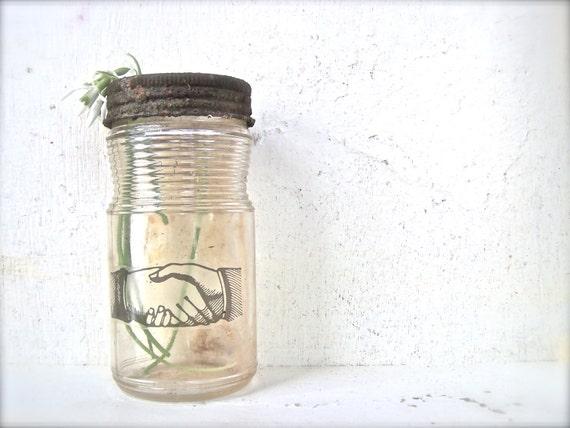 Primitive Decor Rustic Bottle Vintage Shabby CHIC Cottage RUSTY Glass Vase Steampunk
