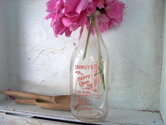 Vintage Milk Bottle, Modern Farmhouse, Retro Kitchen Home Decor, Glass Vase