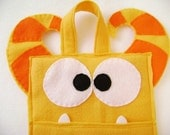 Felt Holiday Stocking - Martin the Orange Monster - Striped Horns