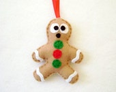 Gingerbread Man, Gingerbread Ornament, Felt Ornament - Gilbert the Gingerbread Man