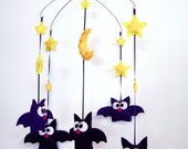 Felt Baby Mobile - Batty Family Bat Mobile - Home Decor Nursery - Gold Moon