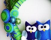 Yarn and Felt Wreath - Peacock Christmas - Owl Blue Green