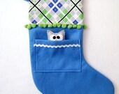 Felt Christmas Stocking - Pocket Peeper Owl - Funky Festivities - Argyle Blue Lime Gray