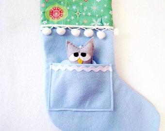Christmas Stocking, Felt Holiday Stocking - Pocket Peeper Sleepy Owl - Rockin Retro - Teal Pink Blue Ornaments