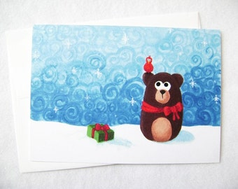 Art Print Cards - Nester the Bear and Friend - Starry Night Series