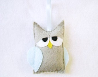 Owl Ormament, Felt Christmas Ornament - Boris the Sleepy Gray Owl - Made to Order