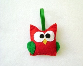 Felt Christmas Ornament - Nancy the Red Baby Owl