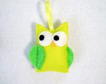 Felt Christmas Ornament - Evan the Yellow Owl