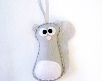 Felt Holiday Ornament - Sammy the Gray Squirrel