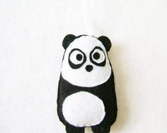 Panda Ornament, Christmas Ornament, Felt Animal, Eugene the Panda - Made to Order, Christmas Decoration, Felt Ornament, Kids Gift