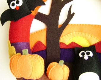 Wreath, Halloween Wreath, Autumn Wreath, Hallows Eve -  Made to Order, Black Cat, Pumpkins, Bat, Sunset Wreath, Felt Animals