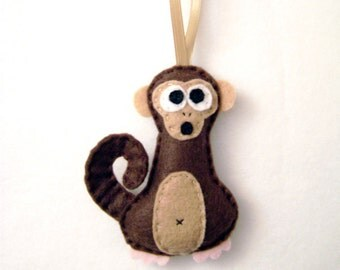 Monkey Ornament, Christmas Ornament, Ornament, Bart the Monkey - Made to Order, Party Favor, Felt Animals, Gift Topper, Gift under 20