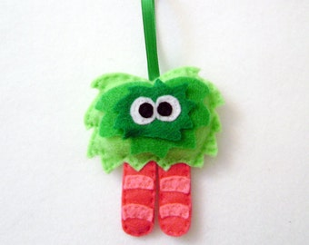 Monster Ornament, Christmas Ornament, Ornament, Mumsy the Mumsy Monster - Made to Order, Felt Animals