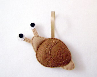 Snail Ornament, Christmas Ornament, Snelly the Snail - Made to Order, Holiday Ornament, Easter Decoration