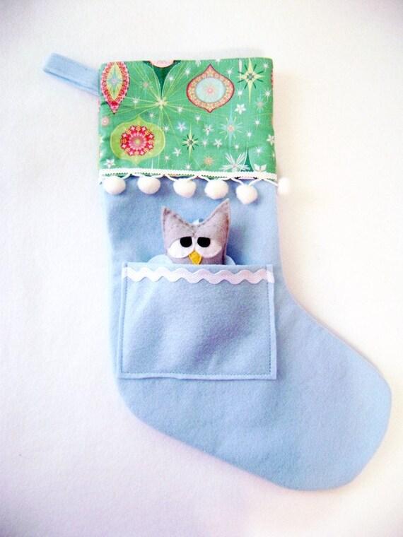 Christmas Stocking, Clearance Sale, Felt Holiday Stocking - Pocket Peeper Sleepy Owl - Rockin Retro - Teal Pink Blue Ornaments