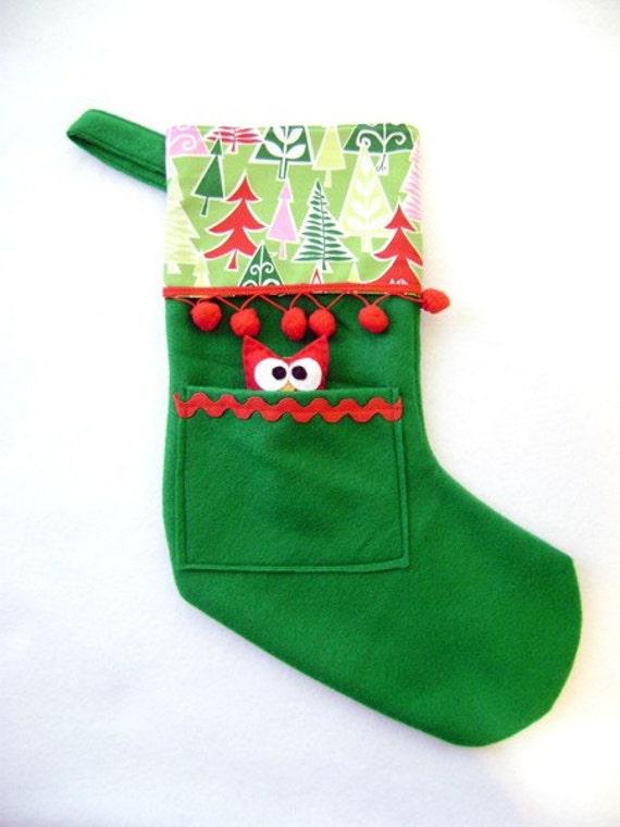 Owl Christmas Stocking - Pocket Peeper Owl - Sleigh Ride