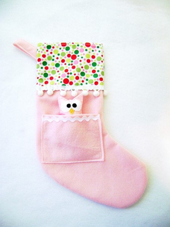Felt Holiday Stocking - Pocket Peeper Owl - Gingerbread - Pink Polka Dot Green Red Lime
