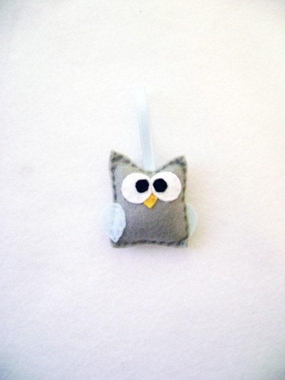 Felt Holiday Ornament - Boris the Gray Baby Owl