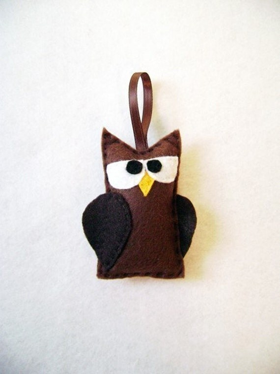 Owl Ornament, Christmas Ornament, Felt Holiday Ornament - Phineas the Grumpy Brown Owl