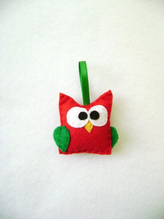 Owl Ornament, Christmas Ornament, Nancy the Red Baby Owl, Forest Animal, Woodland Animal, Felt Animal, Felt Bird