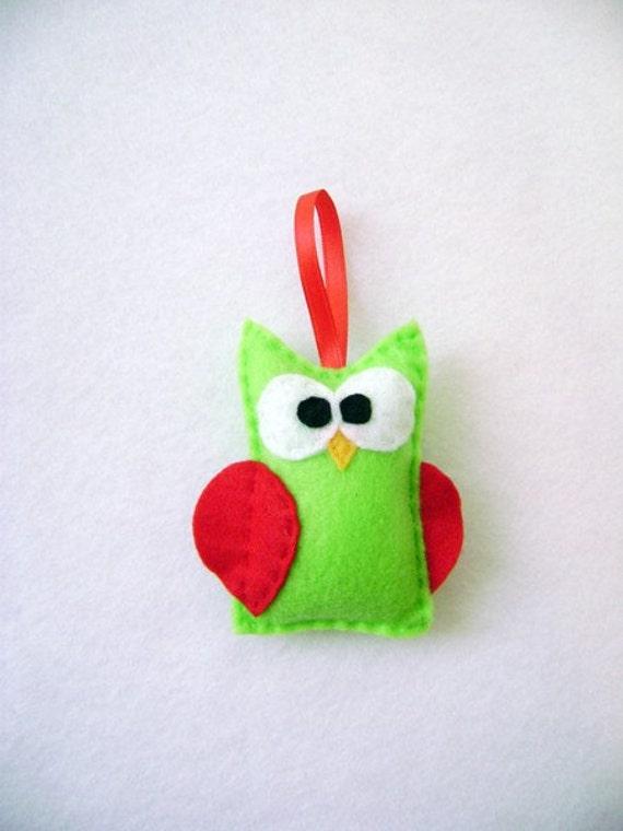 Felt Christmas Ornament - Eric the Owl - Lime Green