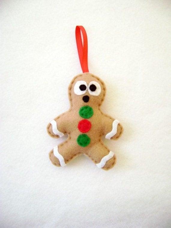 Felt Holiday Ornament - Gilbert the Gingerbread Man