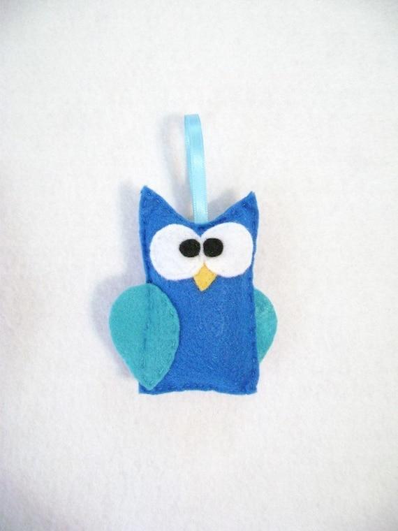 Felt Owl Ornament - Jerry the Blue Owl