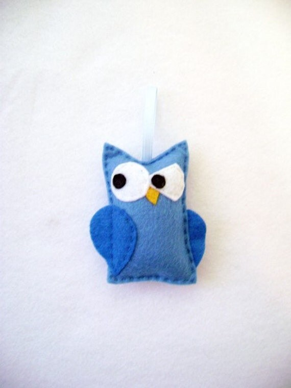 Owl Ornament, Christmas Ornament, Professor Peacock the Blue Owl, Stocking Stuffer, Kids Gifts