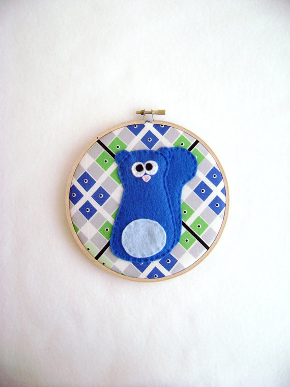Squirrel Wall Art, Fabric Wall Art - Max the Blue Squirrel - Argyle Embroidery Hoop