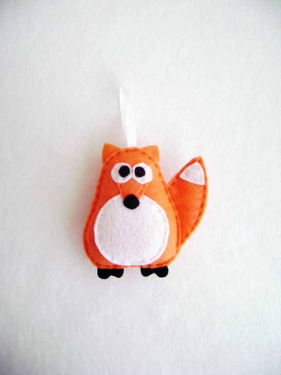 Ornament, Fox Ornament, Christmas Ornament, Jefferson the Orange Fox - Made to Order, Felt Animal, Gift Topper