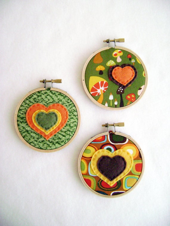 Fabric Wall Art - Earth and Avocado - Bubbles of Love - Embroidery Hoop Hearts