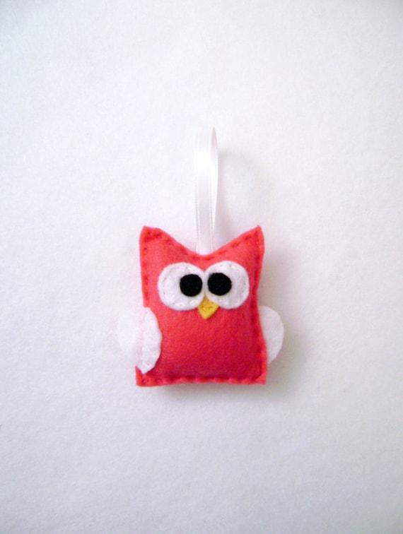 Felt Christmas Ornament - Lola the Hot Pink Baby Owl