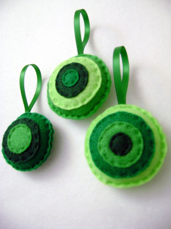 Christmas Ornament, Felt Ornament Set - Evergreen Christmas Dots, Circle Ornaments, Felt Accent Ornaments, Holiday Decoration